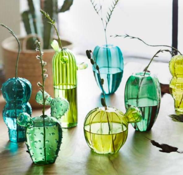 Glass Cactus Vases (1)