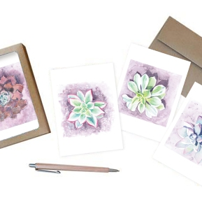 Succulent Water Color Notecards